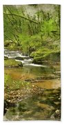 Digital Watercolor Painting Of Stunning Landscape Iamge Of River Beach Towel