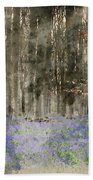 Digital Watercolor Painting Of Stunning Landscape Of Bluebell Fo Beach Towel