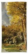 Digital Watercolor Painting Of Stunning Vibrant Autumn Forest La Beach Towel