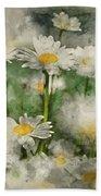 Digital Watercolor Painting Of Wild Daisy Flowers In Wildflower  Beach Towel