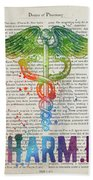 Doctor Of Pharmacy Gift Idea With Caduceus Illustration 03 Beach Sheet