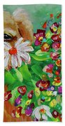 Dog With Flowers Beach Towel by Jacqueline Athmann