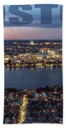 Downtown Boston At Night With Charkes River In The Middle Beach Towel