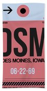 Dsm Des Moines Luggage Tag I Beach Sheet