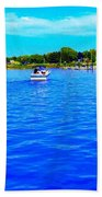 Dunkirk New York Harbor With Neon Effect By Rose Santucisofranko Beach Towel by Rose Santuci-Sofranko