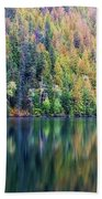 Echo Lake Autumn Shore Beach Towel