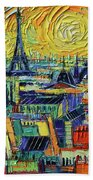 Eiffel Tower And Paris Rooftops In Sunlight Textural Impressionist Stylized Cityscape Mona Edulesco Beach Towel