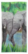 Elephant Couple Beach Sheet