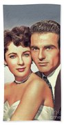 Elizabeth Taylor And Montgomery Clift, Hollywood Legends Beach Towel