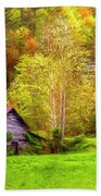 Embraced In Autumn Color Painting Beach Towel