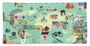 Exlore More World Map Beach Towel