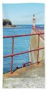 Eyemouth Harbour Pier Entrance Beach Towel