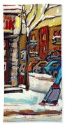 Face Off Street Hockey At The Corner Dep Snow Falling Streets Of Montreal Quebec Artist C Spandau Beach Towel