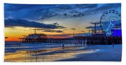 Fading To The Blue Hour - Ferris Wheel Beach Towel