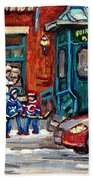 Fairmount Bagel Bakery Laneway Hockey Art Depanneur Winter Scenes C Spandau Montreal Landmark Stores Beach Towel
