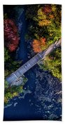 Fall Aerial With Bridge Beach Towel