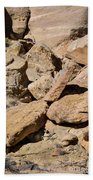 Fallen Sandstone Boulders Beach Towel