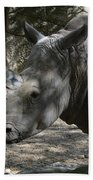 Fantastic Profile Of A Rhino With A Long Horn Beach Towel
