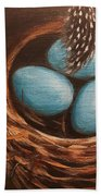 Feathers And Eggs Beach Towel