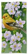 Female American Goldfinch And Apple Blossoms Beach Sheet