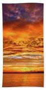 Fire Over Lake Eustis Beach Towel