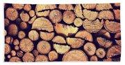 Firewood Logs Beach Towel