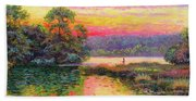 Fishing In Evening Glow Beach Towel