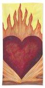 Flaming Heart Beach Towel