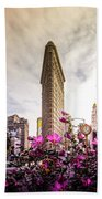 Flatiron And Flowers Beach Towel