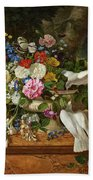 Flowers In A Vase With Two Doves Beach Sheet