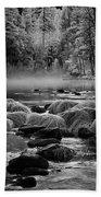 Fog On Yosemite River Beach Sheet