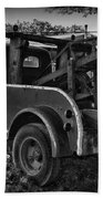 Ford F4 Tow The Truck Business End Black And White Beach Towel