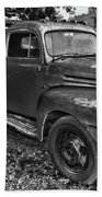 Ford F4 Tow The Truck Hook And Book Black And White Beach Towel