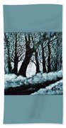 Forest Misty Dawn In Late Fall Beach Towel