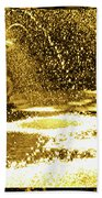 Forsyth Park Tritons In A Cascade Of Gold Beach Towel