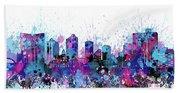 Fort Worth Skyline Color Splatter Beach Towel