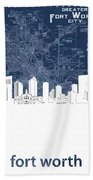 Fort Worth Skyline Map Blue Beach Towel