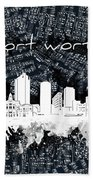 Fort Worth Skyline Music Sheet 2 Beach Towel