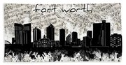 Fort Worth Skyline Music Sheet Beach Towel