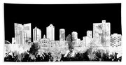 Fort Worth Skyline Watercolor Black And White 2 Beach Towel