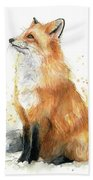 Fox Watercolor Beach Towel