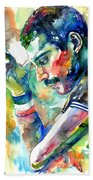 Freddie Mercury With Cigarette Beach Sheet