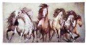 Galloping Horses Magnificent Seven Beach Towel