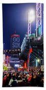 Game Night On Lansdowne Street 2018 World Series Red Sox Boston Ma Beach Towel