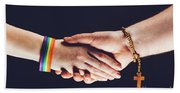 Gay And Christian Person Shaking Hands Beach Towel