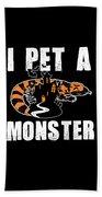 Gila Monster Halloween Venomous Lizard Pet Owner Dark Beach Towel
