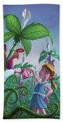 Girl Watering Horror Plants Beach Towel by Martin Davey