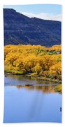 Golden Autumn Trees San Juan River Landscape Beach Towel