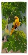 Golden Parakeet In Papaya Tree Beach Towel
