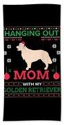 Golden Retriever Ugly Christmas Sweater Xmas Gift Beach Towel
